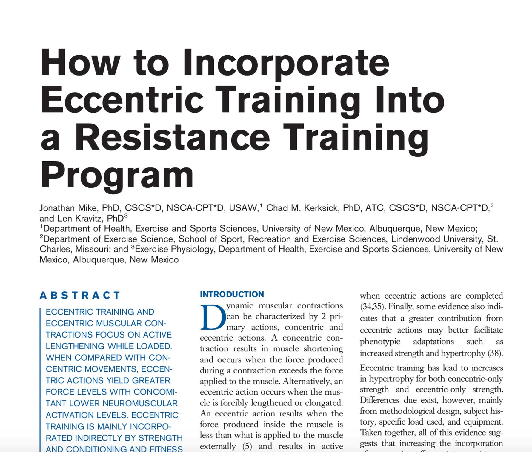 How to Incorporate Eccentric Training